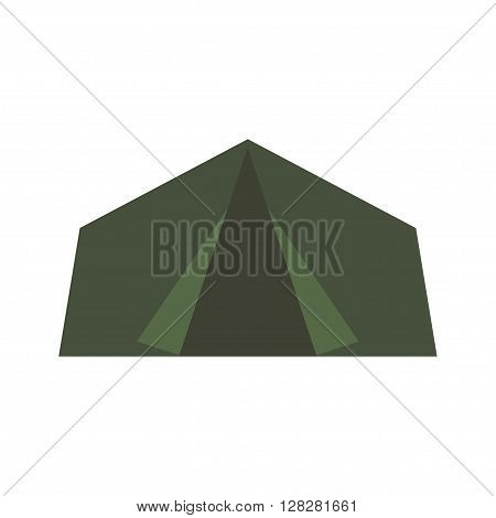 Camping equipment green camping tent, travel. Military tent icon.