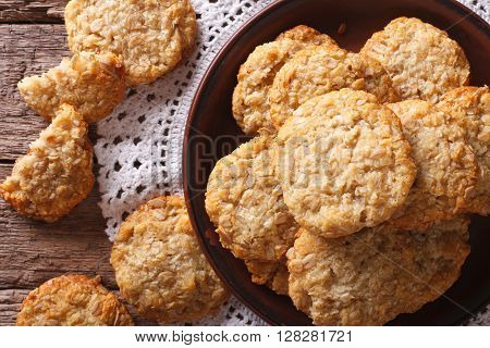 Australian Anzac Biscuits Close Up On A Plate. Horizontal Top View