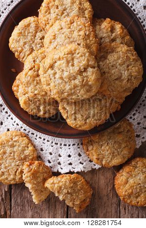 Australian Anzac Biscuits Close Up On A Plate. Vertical Top View