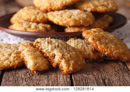 Freshly Baked Australian Anzac Biscuits Close Up. Horizontal