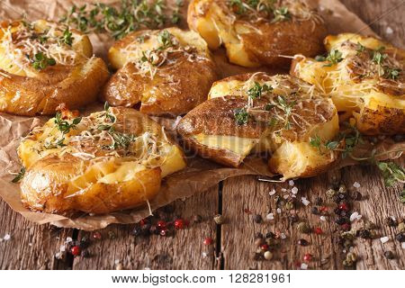 Tasty Hot Baked New Potato With Thyme Close-up. Horizontal
