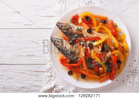 Escabeche Fish: Mackerel In Vegetable Marinade. Horizontal Top View