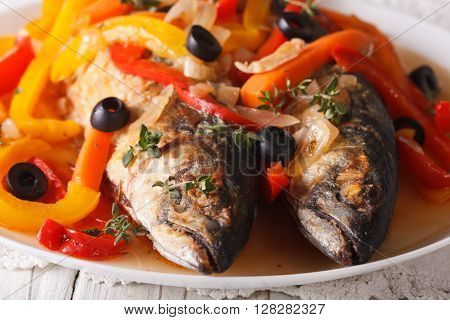 Spanish Cuisine: Escabeche Of Mackerel Closeup. Horizontal
