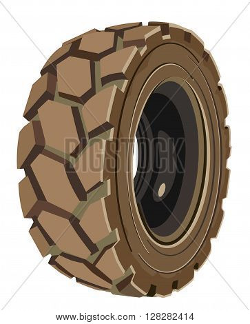 Brown lorry wheel. Truck's brown tire. Transport's brown tire.