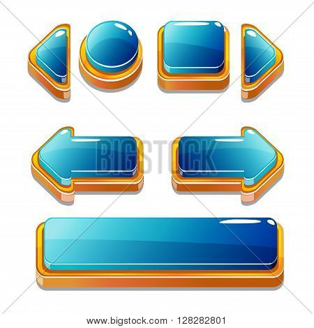 Vector Cartoon gold and blu buttons for game or web design, gui elements set