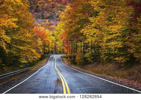 A two lane highway cuts through colorful autumn foliage of the White Mountain National Forest of New Hampshire.