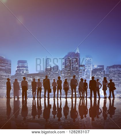 Corporate Business People Looking Up Skyscraper Concept