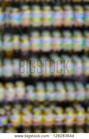 Abstract store or supermarket shelfs blured background for collage design
