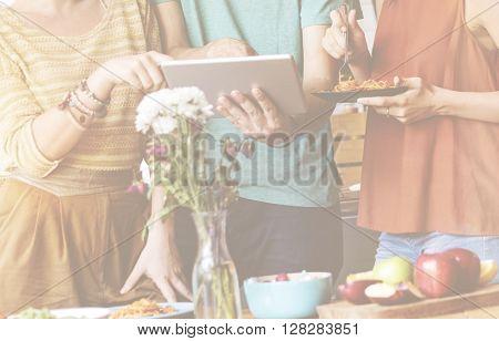 Friendship Togetherness Food Digital Tablet Technology Concept