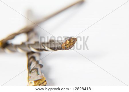 Drill bit for brick and concrete borer on a white background.