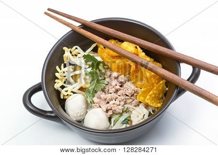 Noodles with pork , Asian food style
