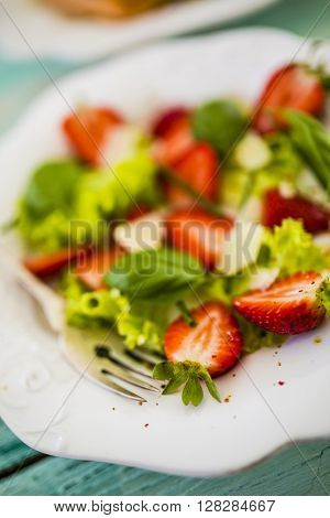 Salad with fresh strawberries, light diet