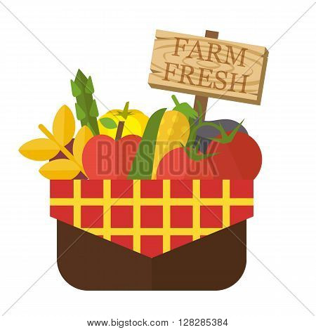 Organic food basket. Basket with fresh organic food and sign. Organic vegetable basket. Food vector illustration
