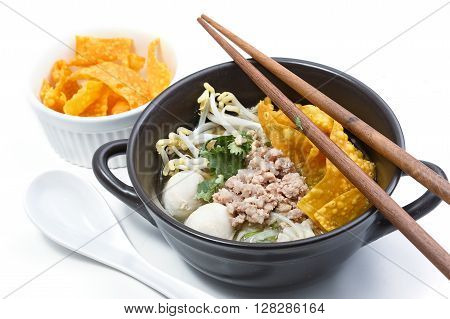 Noodles in soup with pork Asian food style