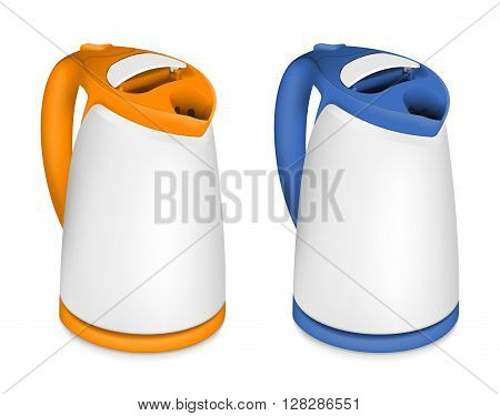 Set of 2 electric kettles on white background
