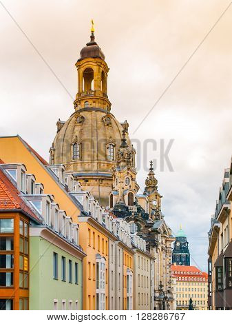 Dome of Dresden Frauenkirche behind buildings of Old Town, Germany