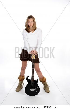 Teen Leaning On Guitar (Md)