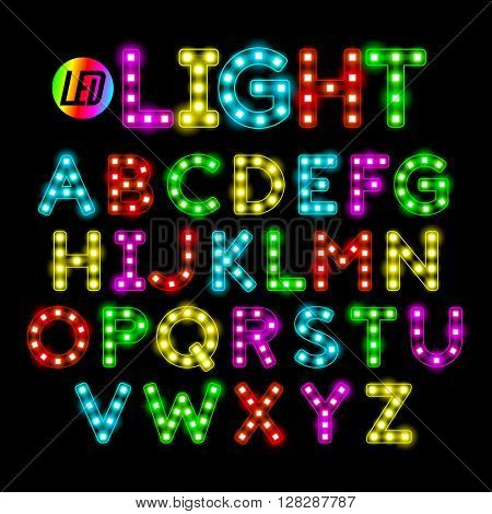 Colorful LED strip light alphabet vector illustration