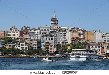 ISTANBUL, TURKEY - APRIL 30, 2016: Karakoy and Galata Tower in Istanbul City Turkey