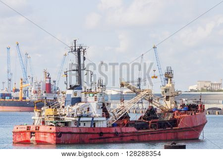 Old Cargo Vessel On Water