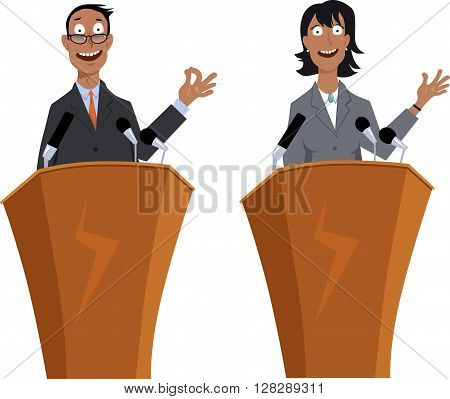 Male and female public speaker, EPS 8 vector cartoon characters, isolated on white, no transparencies
