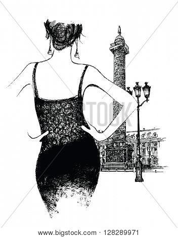 Young woman fashion model