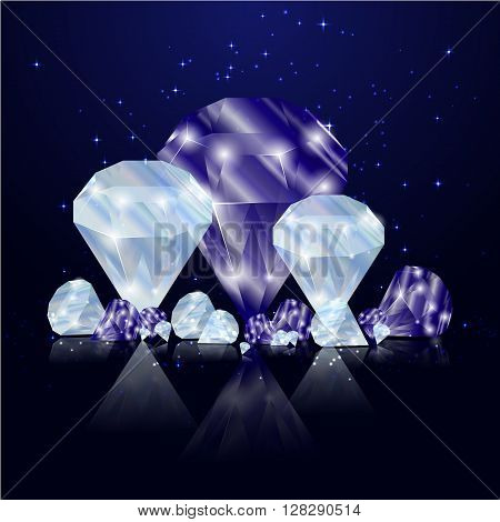Sparkling sapphires and diamonds on a reflective surface. Luxury gems.