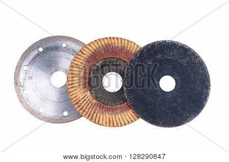 Abrasive flap grinding discs isolated on a white background