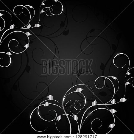 Silver plant pattern with shadow on dark background. Vector illustration.