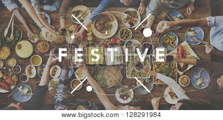 Festive Eating Delicious Food Party Celebration Concept