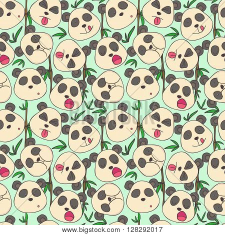 Seamless cheerful pattern of pandas muzzles of different emotions
