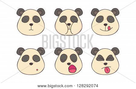 Smileys Set of cheerful pandas with different emotions