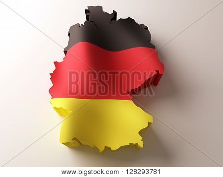 Flag map of Germany on white background. 3d rendering.