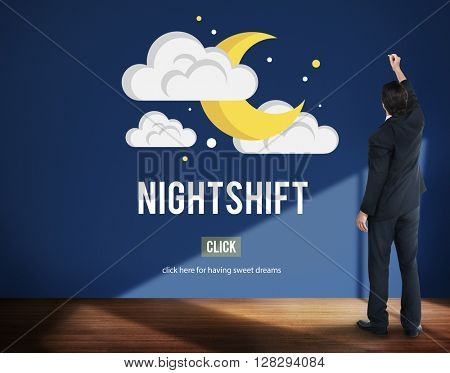 Night Shift Business Laptop People Time Work Concept