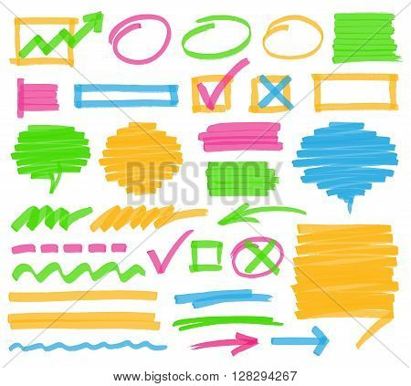 Highlighter marker design elements. Set of highlighter marks stripes strokes shaded speech bubbles and arrows. Optimized for one click color changes. Transparent colors EPS10 vector.