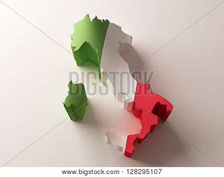 Flag map of Italy on white background. 3d rendering.