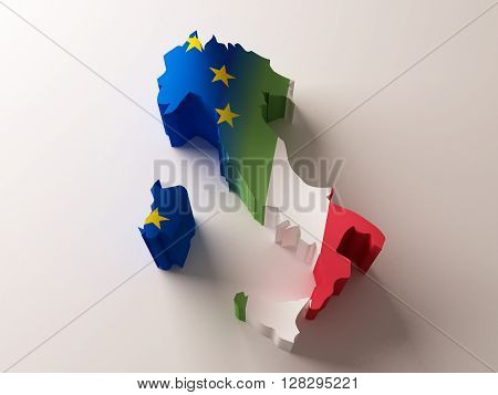 Flag map of Italy and European Union on white background. 3d rendering.
