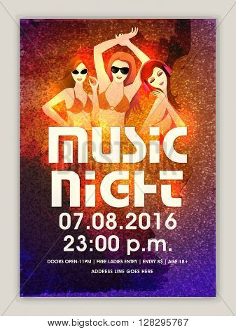 Musical Party Template, Dance Party Flyer, Night Party Banner or Club Invitation design with illustration of young modern girls.