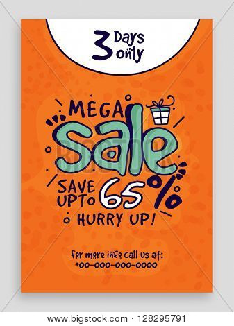 Mega Sale Flyer, Sale Banner, Sale Poster, Save Upto 65%, Limited Time Sale. Vector illustration.