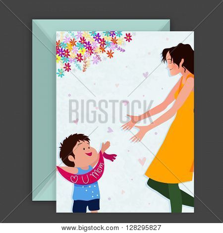 Illustration of Young Mother playing with her loving Son, Elegant Greeting Card for Happy Mother's Day celebration.