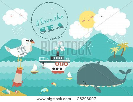 Whale, steamship and seagull in blue sea. Vector illustration