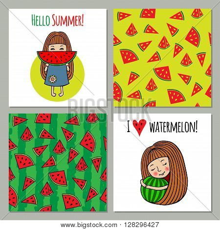 Vector set of backgrounds watermelon and sweet little girls. 2 background with juicy melons form a seamless patterns. The set can be used for printing, for processing of printed products.