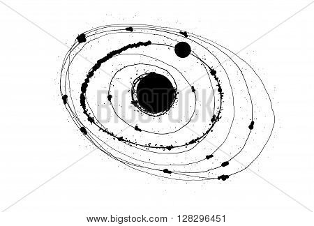 Abstract solar system on white background whit black dots.