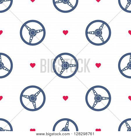 Seamless pattern with sport car steering wheels. Vehicle steering wheels and hearts on white background. EPS8 vector illustration includes Pattern Swatch.