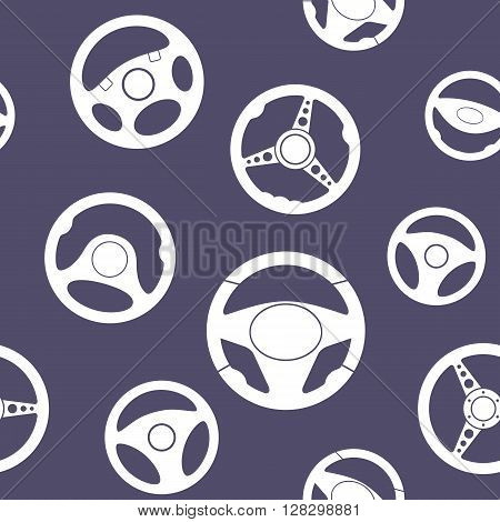 Seamless pattern with automobile steering wheels. Vehicle steering wheels on violet background. EPS8 vector includes Pattern Swatch.
