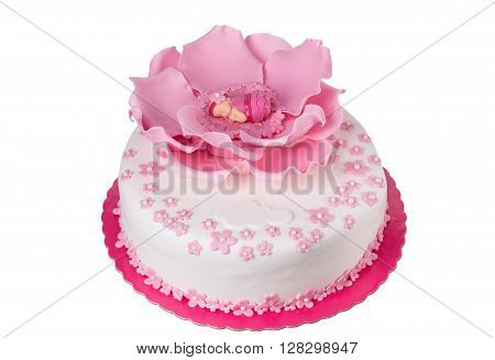 Delicious cake for the newborn child. At the baptism.