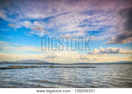 Beautiful Summer Landscape With Cloudy Sky And Natural Lake In Poland. Hdr Image