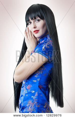 Woman With Brunette Long Hair