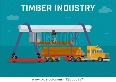Timber industry - Overhead crane loads a logs in the truck. Vector banner.
