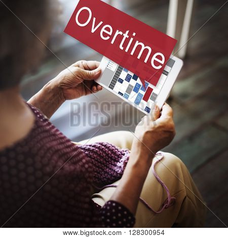 Overtime Hard Working Overload Concept